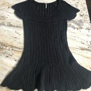 Free People Black knit fit and flare dress